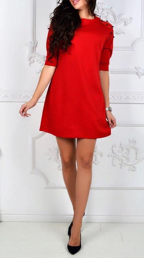 Платье с бусинками на плечах трикотажное женское