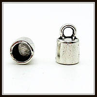 """Колпачок бижутерный """"серебро""""  (диам. 0,9 см, высота 1,2 см) 8 шт в уп."""