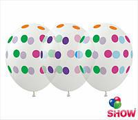 """Латексные воздушные шарики цветной горох на прозрачном 12"""" (30 см)  ТМ Show"""