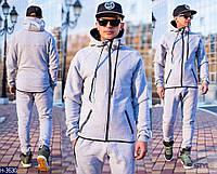 Мужской св.серый спортивный костюм с замком на кармане и  капюшоном. Арт-13002