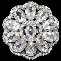 Кольцо из серебра 925 пробы с натуральным розовым кварцем Размер 18,2