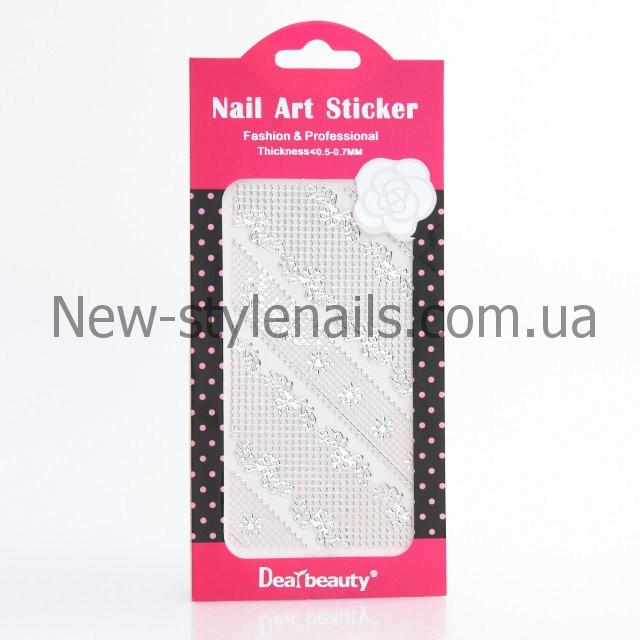 Кружево для дизайна ногтей (серебро) разные 12 шт/уп