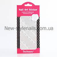 Кружево для дизайна ногтей (серебро) разные 12 шт/уп, фото 1