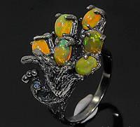 """Кольцо ручной работы из серебра 925 пробы с натуральным опалом """"Жар-Птица"""" Размер 18,3"""