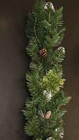 Гирлянда из искусственной хвои новогодняя с шишками 3 м