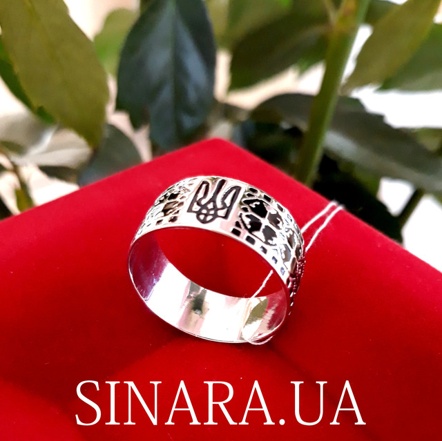 Каблучка з Тризубом - Кольцо Тризуб серебро - Тризубец кольцо Герб Украины фото 2
