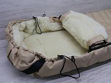 Зимний чехол на овчине в коляску санки бежевый, фото 2