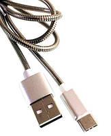USB cabel TECHFUERZA (оплетка металл) Type-C для Samsung (сталь)