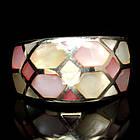 Серебряное кольцо ручной работы 925 пробы с натуральным перламутром Размер 17,5