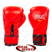 Перчатки боксерские кожаные Everlast BO-4748-R (р-р 8-12oz, красный)