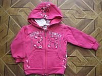 Детская теплая кофта 3-х нитка с начесом  Розочки для  девочки 1-2, 3-4 года   Турция