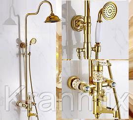 Душевая стойка золото Aquaroom в ванную кран в раковину смеситель для умывальника