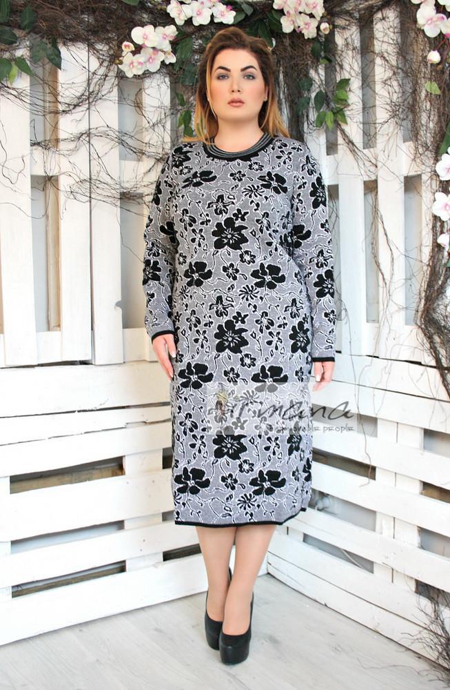 163354b7fea Теплое черно-белое платье вязаное Цветы - V Mode
