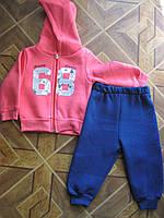 Детский теплый костюмчик 3-х нитка с начесом для девочки 1-4 года Турция