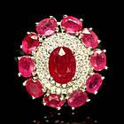 Кольцо из серебра 925 пробы с натуральным рубином Размер 16,3