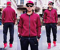 Мужской  спортивный костюм т.синий+красный на замке . Арт-13007