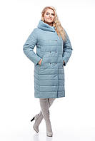 Голубой зимний пуховик большие размеры с капюшоном манишка кролик и песец размеры 48-60