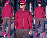 Мужской  спортивный костюм коричневый+красный на замке . Арт-13007