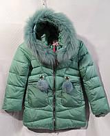 Полу-пальто зимнее детское с мехом для девочки 8-12лет,бирюзовый цвет