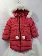 Полу-пальто зимнее детское с мехом для девочки 4-8 лет,красное с мехом