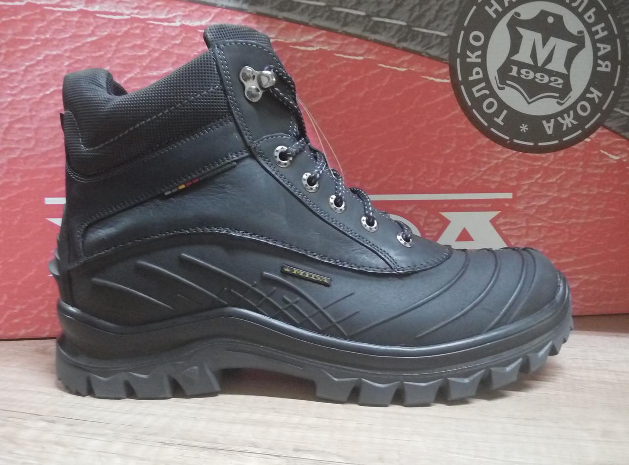 Прорезиненyые мужские ботинки  МИДА 14734 из натуральной кожи