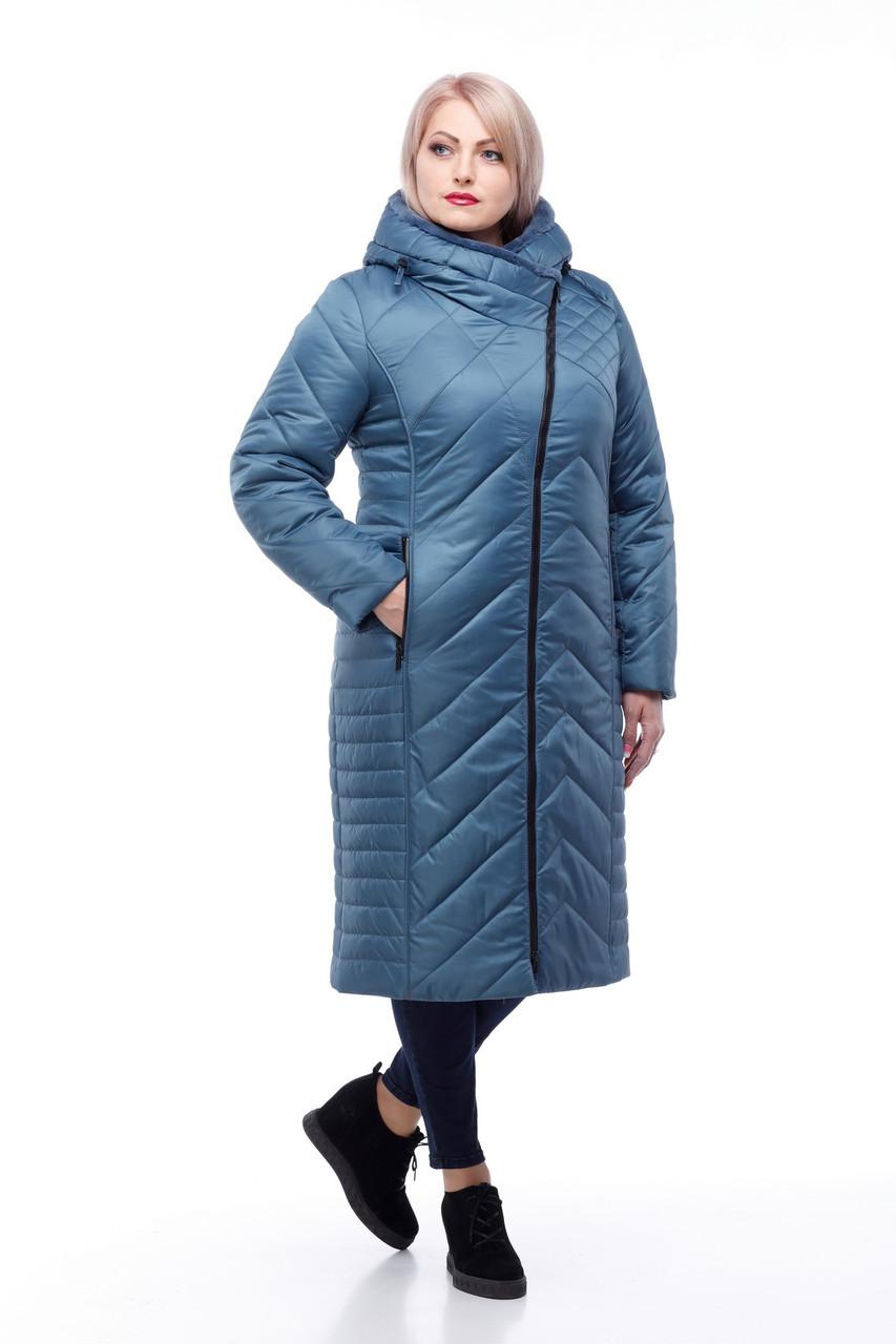 Длинный зимний пуховик большие размеры с капюшоном  размеры 48-60
