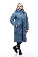 Длинный зимний пуховик большие размеры с капюшоном кролик или без меха размеры 48-60