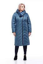 Длинный зимний пуховик большие размеры с капюшоном  размеры 48-60, фото 2