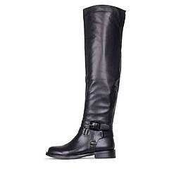 Осенние кожаные черные ботфорты на низком каблуке GLOSSI