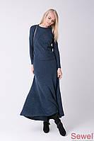 Зимняя широкая длинная женская юбка
