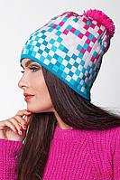 Женская, детская теплая шапка с бубоном