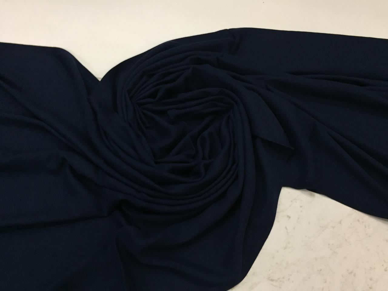 Теплый однотонный  палантин с бахромой цвет синий