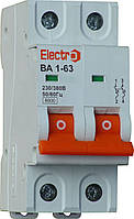 Выключатель автоматический ВА1-63 2 полюса 20A  6кА  х-ка С professional