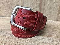 Женский кожаный ремень Cinturify под джинсы, длина 105-125 см. ширина 3.7 Красный