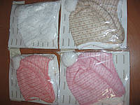 Детские тепленькие демисезонные шапочки для маленьких девочек  44-48 см Турция