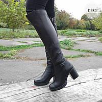 Женские зимние ботфорты на каблуке и платформе модель 7198.1