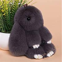 Мягкая игрушка кролик натуральный мех серый 18-20 см
