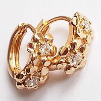 """Серьги кольца """"Цветочки"""" с фианитами. Ювелирная бижутерия Xuping Jewelry, позолота 18К."""