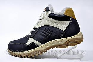 Кожаные ботинки в стиле Columbia, зимние с мехом