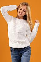 """Нарядный вязаный свитер """"Софи"""" - белого цвета"""