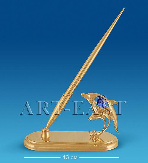 """Письменный прибор """"Дельфин"""" 13x5x21,5 см., с цвет. крист. Crystal Temptations, США"""