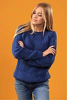 """Оригинальный вязаный свитер """"Софи"""" джинсового цвета, фото 1"""
