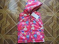 Детский теплый жилет с капюшоном Цветочек для девочек 3-6 лет Турция