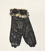 Женские кожаные перчатки на плюшевой подкладке с мехом кролика