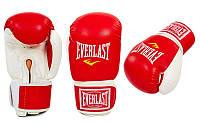 Перчатки боксерские Кожзам на липучке Everlast (р-р 8-12oz, красный-белый)