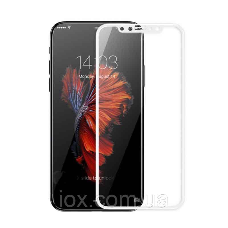 Захисне протиударне скло на екран для iPhone X Біле