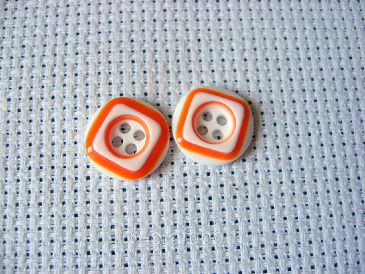Пуговица пластиковая, декоративная, круглая. 12 мм, оранжевая