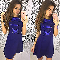 Синее платье мини с атласной лентой тв-10005-2