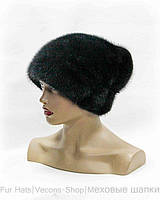"""Норковая шапка """"Козачек"""" с бантом на довязе (черн)"""