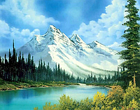 """Алмазная вышивка размер изображения 40×30 - набор """"Заснеженные горы"""" Художник Robert Norman Ross"""
